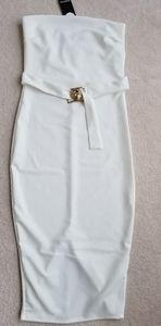 White Strapless Midi Dress